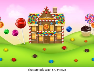 Fantasy candyland with gingerbread house