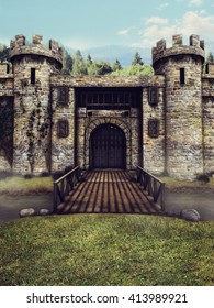 Fantasy castle with a moat and drawbridge. 3D illustration.