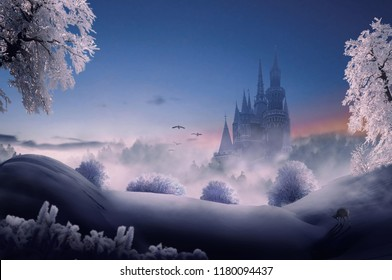 fantasy  castle in winter wonderland. 3D rendering