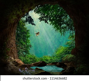 Fantasy cave in the mountains. 3D rendering. Photo manipulation.