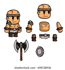 Fantasy character. A game art character design ready for animation - all parts of body are fully customizable.