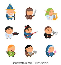 Fantasy characters. 2d game sprite male and female heroes computer soldiers rpg shooter mascots soldiers knights wizards