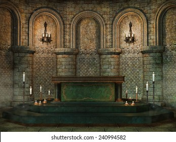 Fantasy church altar with candles