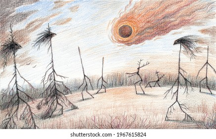 Fantasy colored pencils artwork with Tunguska unexplained event meteorite falling in the taiga woods