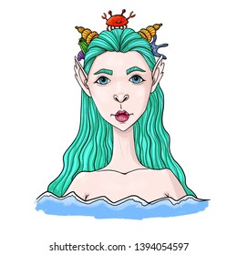 Fantasy creature. Portrait of mermaid with long hair, jewelry made of shells and crabs. Illustration.