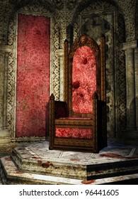 Fantasy crimson throne room in a castle