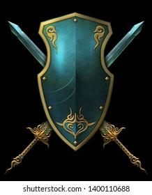 Fantasy crystal blades with teal shield heraldic display 3D digital illustration