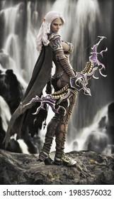 Fantasy Dark Elf Frauenkirche mit fließenden weißen Haaren, Kap und mythische Rüstung posiert mit ihrer Schleife auf einem Felsvorsprung mit einem prächtigen Wasserfall Hintergrund. 3D-Rendering