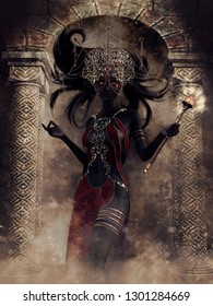 Fantasy dark elf sorceress with a magic wand standing in front of a stone gate. 3D illustration.