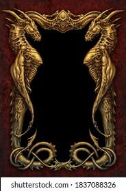 Fantasy dragon golden frame - digital illustration