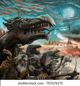 Fantasy dragons with masters