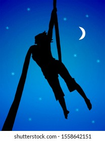 Fantasy dreamy scene graphic silhouette style depicting a woman making fabric acrobatic over moonscape background