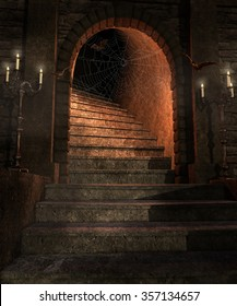Fantasy dungeon with stairs, candelabras and bats