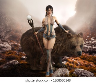 Fantasy elegant Druid female devoted to nature posing with her magical staff and  enormous pet bear . 3d rendering