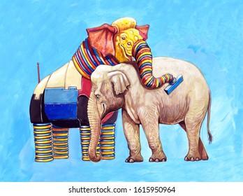 Fantasy elephants illustration. Elephant robot and indian elephant. Futuristic animals.