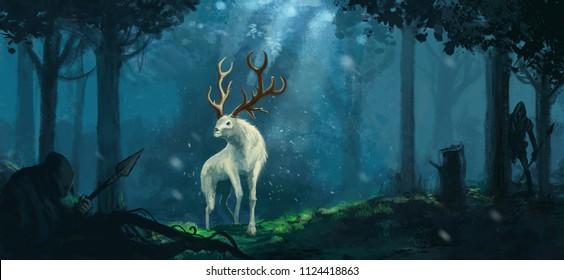 Fantasy elk creature - Digital fantasy painting