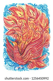 Fantasy fairy firebird watercolor illustration