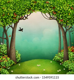 Fantasy fairy tale Background for the fairy tale Mr. Cat and the Fox.