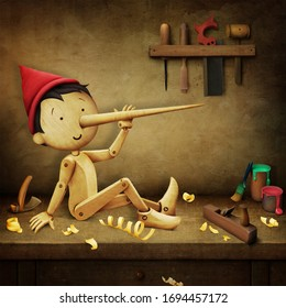 Fantasy fairytale magic illustration or drawing or postcard with  wooden boy Pinocchio on  workbench with tools.