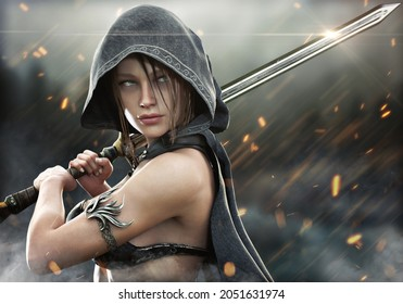 Fantasy female hooded warrior ranger stands ready to strike with her glimmering two handed sword on the battlefield with embers falling around her. 3d rendering