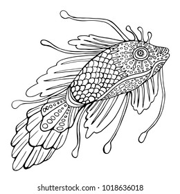 Fantasy fish, coloring page for children and adults. Isolated pattern. Cartoon character fish decorative element.Raster anti stress  background. Funny doodle sketch style.