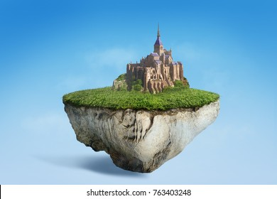 Fantasy floating island with castle inthe sky, surreal flying island with green grass ground 3D illustration