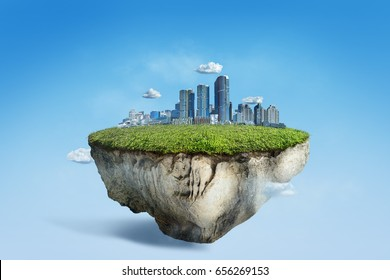 Fantasy floating island with green grass field and cityscape, surreal flying island with skyline city building 3D illustration