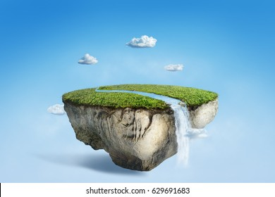 fantasy floating island with river stream on green grass, surreal float landscape with waterfall paradise concept on blue sky cloud 3d illustration