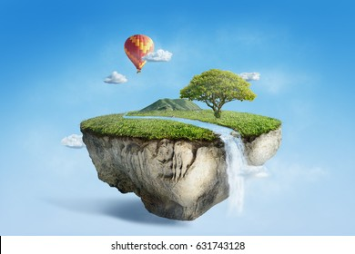 fantasy floating island with river stream on green grass with air balloon, surreal float landscape with waterfall paradise concept on blue sky cloud 3d illustration