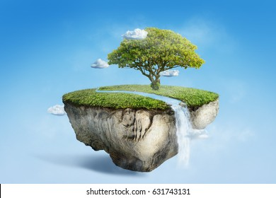 fantasy floating island with river stream on green grass with tree, surreal float landscape with waterfall paradise concept on blue sky cloud 3d illustration