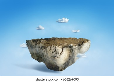 Fantasy floating island with rocky surface and cloud, surreal flying island with rock ground 3D illustration