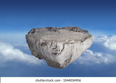 fantasy floating rocky island on top of blue sky, surreal float landscape with waterfall on cloud 3d illustration