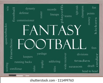 Fantasy Football Word Cloud Concept on a Blackboard with great terms such as draft, running back, money, fees, defense, teams and more.