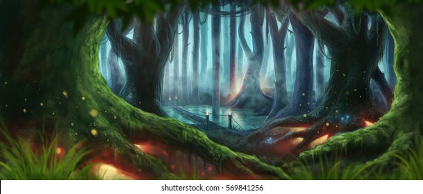 Fantasy Forest Magic Dark Night  Mystic Illustrated Background