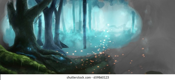Fantasy Forest Magic Dark Night  Mystic Illustrated Background Draft