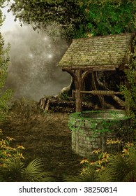 Fantasy forest with a wishing well