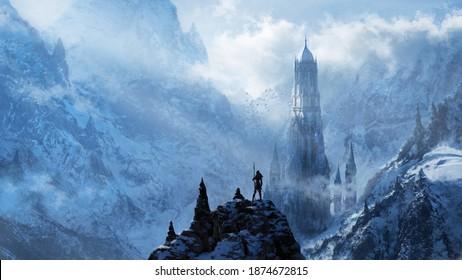 Fantasy frozen tower - digital illustration