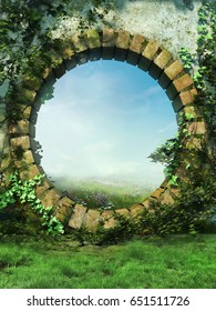 Fantasy garden wall with a round gate and spring ivy. 3D render.