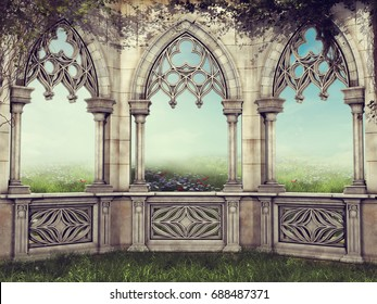 Fantasy garden wall with vines facing a spring meadow. 3D illustration