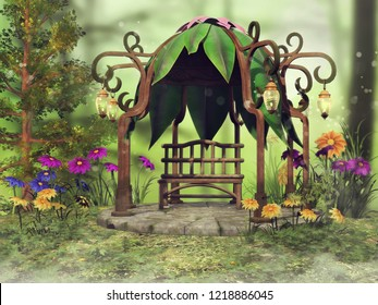 Fantasy gazebo with hanging lanterns among colorful flowers on a green meadow. 3D illustration.