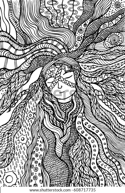 fantasy girl hair coloring page 600w