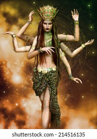 Fantasy goddess with six arms in a green outfit