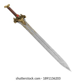 fantasy golden sword with long blade on isolated white background. 3d illustration