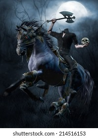 Fantasy headless horseman with an axe and a skull in the forest