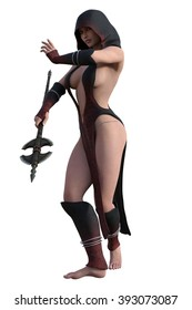 Fantasy hooded female assassin in revealing dress with twin bladed axe