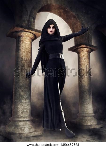 Fantasy Hooded Priestess Old Temple On Stock Illustration