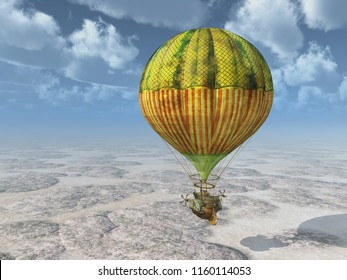 Fantasy hot air balloon over a landscape Computer generated 3D illustration