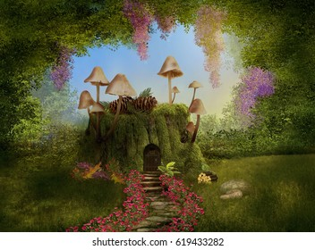 Fantasy house on a tree trunk with mushrooms in a forest. 3D rendering.