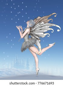 Fantasy illustration of a Ballerina Winter Fairy with silver wings and a white tutu dancing with snowflakes in a winter landscape, digital illustration (3d rendering)
