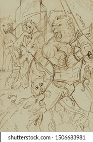 Fantasy illustration of a battle between an armored anthropomorphic lion and a pack of wolves controlled by an evil anthropomorphic wolf sitting on a throne